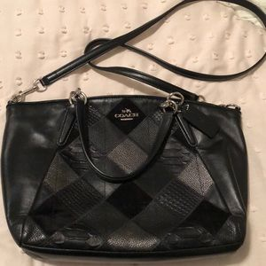 New Coach Black Leather Patchwork Purse